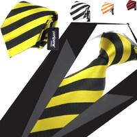 gravatas amarelas para homens venda por atacado-8.5 cm dos homens gravata ascot listras pescoço gravatas camisa de vestido homens gravatas choker gravata amarela para homens 10 pçs / lote
