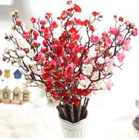 galhos de árvores de flor venda por atacado-Decorativa 7 pçs / lote Ameixa Flores De Cerejeira De Seda Flores Artificiais De Plástico Haste Sakura Tree Branch Decoração de Mesa de Casamento Decoração de Casa Grinalda