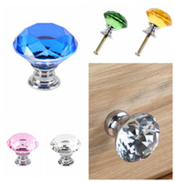 Wholesale crystal glass door handles - 1 pc 30mm Diamond Crystal Drawer Pulls Glass Alloy Door Drawer Cabinet Wardrobe Pull Handle Knobs DDA546