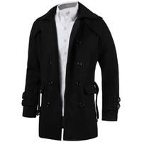 gürtel trenchcoat männer großhandel-2018 Winter Herren Jacken Trench Faux  Wolle Strickjacke Business Outwear Kleidung 8a3308c695