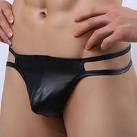 ingrosso cintura del pene maschio-Mutandine maschili in ecopelle Dual Thin Belt Mens Thongs and G Stringhe Intimo per uomo Sexy perizoma pene convex Gay perizoma