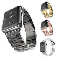 accesorios reloj de pulsera al por mayor-Pulseras de acero inoxidable para la muñeca Iwatch Apple Men Watch Band Correa Mujeres Pulsera Accesorios Deporte 38mm 42mm Con Adaptador