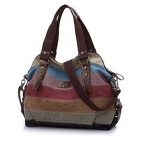 Wholesale Flower Shopping Bags - Famous Fashion Women Canvas Handbag Leather Shoulder Messenger Bag Stripe Crossbody Bag Patchwork Shopping Totes bolsa mujer Li532