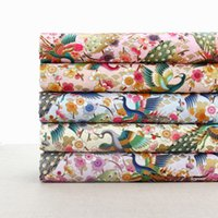mesa de pavão venda por atacado-45x110 cm diy japão estilo tecido de algodão para toalha de mesa / cortinas de porta bonito pavão bronzeado imprime pano / bolsa de tecido