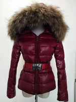 Wholesale thick sash belt - M Women Winter White Duck Down 100% Real Large Raccoon Fur Collar M Down Jacket Hooded with Belt Thick Duck Down Parkas .