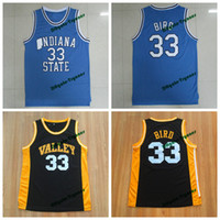 new jersey colleges groihandel-Mens Staat Indiana-Platanen Larry Bird College Basketball Jerseys # 33 New Valley High School Larry Bird genähtes Gelb Rot Shirts