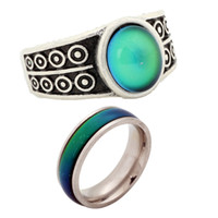 Wholesale china gift retail for sale - 2 Interested Kids Adults Color Change Mood Rings China Retail Ring Jewelry RS007 RSA Set