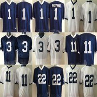 2017 Cheap Wholesale Factory Outlet Homens College Penn State Nittany Lions 1 Paterno 3 11 22 Blue White Football Jerseys