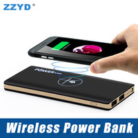 Wholesale Bank Notes - ZZYD 10000mAh Wireless Power Bank Portable Wireless Charger with Dual USB External Battery Pack for iPhone 8 X Samsung S8 Note 8
