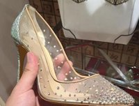 Wholesale Red Bling Heels - 2018 Silver Bling Fashion Design Women's Red Bottom High Heel Pumps Summer Rhinestones Party Wedding Stiletto Thin Heels