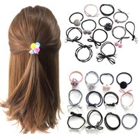 шарик для волос лук оптовых-12Pcs/Set Girls Hair Rope Hairband 6 Colors Women Pearl Bow Ball High Elastic Rubber Bands Hairball Hair Ring Stying tool