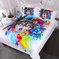 Wholesale cool queen beds resale online - Floral Boho Wolf Duvet Cover Set Cool Wildlife Bedding Set Queen for Adults Bright Rainbow Flower Blossoms Bedspread
