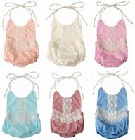 Wholesale Infant Lace Tops - 2018 summer toddler girl lace rompers tassel fringe onesies baby boutique clothing infant clothes halter tops backless jumpsuits cotton cute