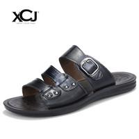 Wholesale Plus Size Cotton Thongs - XCJ Men Sandals Genuine Split Leather Summer Men Beach Sandals Brand Casual Shoes Flip Flops Thong Sneakers Plus Big Size