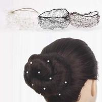 görünmez net toptan satış-Inci Kadın Bun Kapak Snood Bale Dans Paten Saç Net Kız Hairband Saç Aksesuarları Kahverengi Görünmez Elastik Bale Bun Kap