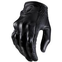 siyah parmak eldivenleri toptan satış-Üst Guantes Moda Eldiven gerçek Deri Tam Parmak Siyah moto erkekler Motosiklet Eldiven Motosiklet Koruyucu Gears Motocross Eldiven