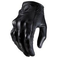männer schwarze lederhandschuhe großhandel-Top Guantes Fashion Handschuh aus echtem Leder Vollfinger Schwarz moto männer Motorradhandschuhe Motorrad Schutz Gears Motocross Handschuh
