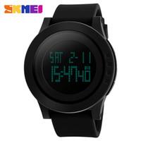silicone watches led venda por atacado-SKMEI Homens Esportes Ao Ar Livre Assista Homens LED Digital relógios de Pulso Masculino À Prova D 'Água Cronômetro Alarme Calendário Moda Casual Assista 1142