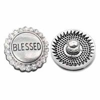 bendiciones pulseras mujeres al por mayor-Alta calidad W018 bendito 18 mm 20 mm rhinestone botón de metal para botón a presión Pulsera Collar Joyería Para Las Mujeres joyería de Plata