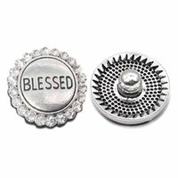 Wholesale blessing bracelets women for sale - Group buy High qualit W018 blessed mm mm rhinestone metal button for snap button Bracelet Necklace Jewelry For Women Silver jewelry