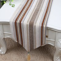ingrosso tessuto classico moderno-New Classic Stripe Velvet Fabric Table Runner Lunghezza Modern Simple Coffee Tablecloth Tavolo da pranzo in stile europeo Mats protettivo