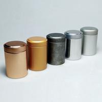 tea tins wholesaler NZ - 45*67mm Round Column Small Tea Tin Box Metal Tin Candy Storage Boxes Seal Lip Pocket Carry Case