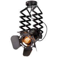 base da lâmpada pingente preto e27 venda por atacado-Loft Industrial Pendente Luz Spotlight Preto Moderno Pista Luzes Loja de Roupas Pendurado Lâmpada E27 Base Sala de estar Quarto