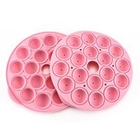 buraco de moldes de chocolate venda por atacado-Silicone molde de chocolate antiaderente pirulito baking molde diy 18 furos redondos moldes de gel de sílica rosa 10 23sj cb