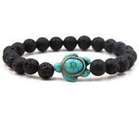 ingrosso pietre in ceramica per sterling-Ntural Stone 8mm Black Lava Stone Beads Tortoise Charms Bracciale Bracciali con profumo di olio essenziale di profumo Stretch gioielli in yoga