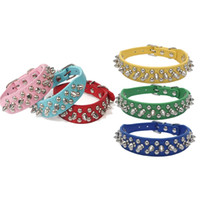 Wholesale bite dog collar online - Multi Size Can Choose Dogs Necklace Metal Rivet Design Dog Collars Simulation Leather Pet Dog Rings Bite Proof Hot Sale wn4 Z