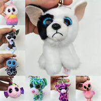 Wholesale Cat Plush Keychain - Cute Fluffy Plush Toys TY Beanie Boos Soft Stuffed Dolls Keychain Big Eyes Baby Animals Pendant For Kids Children Gift 4 5cs YY