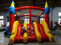 Wholesale play playhouse - Inflatable Outlet Dual slide inflatable combo bounce house bouncy castle moonwalk