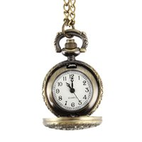 Wholesale pocket watch vintage owl - Vintage Hollow Owl Round Quartz Fob Pocket Watch with Chain Necklace Retro Jewelry Gifts LXH