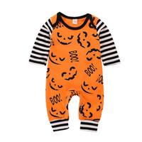 yenidoğan halloween giysileri toptan satış-Yeni Cadılar Bayramı moda yenidoğan bebek tulum erkek bebek kız giyim uzun kollu karikatür baskılı tulum tırmanma suit