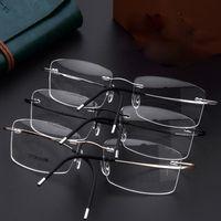 titan randlose rahmen rezept brillen großhandel-Heißer verkauf 100% pure titanium männer frauen brillen rahmen optische gläser verschreibungspflichtige randlose brille licht gewicht