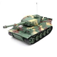 juguetes alemanes al por mayor-Henglong 3828 1/26 27 MHZ German Tiger RC Car Battle Tank simulado con sonido ligero juguetes camuflaje / gris Smart Boys regalo de nacimiento