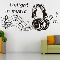 Wholesale music notes removable decals resale online - MUSIC NOTES Headset Wall Sticker Removable Home Mural Decal Vinyl Art Wall Decor