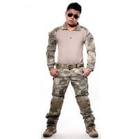 ropa de camuflaje marrón al por mayor-Traje táctico Uniforme de combate del ejército Camisa + Pantalones con codo Rodilleras Camo Conjunto Caza Ropa Paintball Ropa