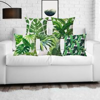 Wholesale case plant cover for sale - Group buy Summer green plant printed decor home throw pillows case pillow covers linen for sofa green leaves
