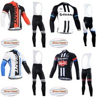 Wholesale giant long sleeve fleece cycling jersey for sale - Group buy GIANT team Cycling Winter Thermal Fleece jersey bib pants sets men Long Sleeve bike maillot roupa ciclismo c3121