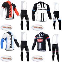 ingrosso squadra cielo ciclismo jersey blu-GIANT squadra Ciclismo Inverno Thermal Fleece jersey (bib) pantaloni set uomo Manica Lunga bici maillot roupa ciclismo c3121