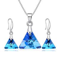 kolye için swarovski kristal kolye toptan satış-Swarovski Düğün Takı Mavi Kristal Kolye Kolye ile Küpe Seti Üçgen Tasarımcı Moda Takı Kadınlar için Parti Hediye