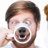 xícaras de café de animais venda por atacado-Canecas de Nariz de Cão engraçado Copo De Cerâmica Animal Pet Drinkware Estilo Cachorrinho Cerâmica Caneca Copos De Café Livre DHL HH7-906