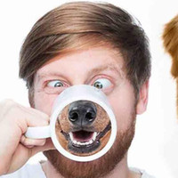 Wholesale nose cups - Funny Dog Nose Mugs Ceramic Cup Animal Pet Drinkware Doggy Style Ceramics Mug Coffee Cups Free DHL HH7-906