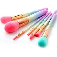 Wholesale pro hair brushes - 3D Gradient Pink Purple Blue Pro Beauty Tool Makeup Brushes Kits For Blush Bulk Powder Eye Shadow Highlight