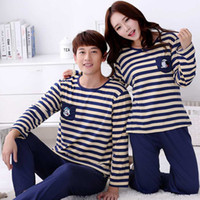 Wholesale clothing cartoon adult - 2017 spring autumn long-sleeve Lovers sleepwear cartoon lovers home clothing couples matching pajamas adult pyjamas free shipping