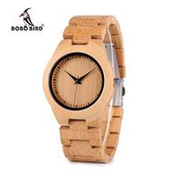 relojes de banda de madera al por mayor-BOBO BIRD Bamboo Lovers Watches Timepieces Wood Band Reloj de pulsera de cuarzo para los amantes relogio feminino Envío de la gotaY1883104