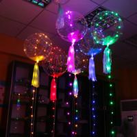 dalga balonları toptan satış-LED balonlar Gece Işık Up Oyuncaklar temizle balon 3 M Dize Işıklar Flaşör şeffaf dalga topları Aydınlatma Helyum Balonlar parti Dekora ...