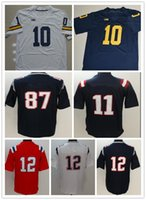 Wholesale Sport Toms - Mens NCAA Best Quality any football jerseys tom sports edelman shirts kids women white brady red julian Michigan Wolverines with player name