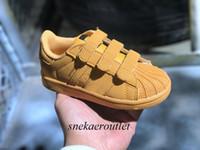 zapatos de gran tamaño al por mayor-Nueva llegada 5 colores Superstars Kids Causal Shoes con tres ganchos Boys Girls Fashion super stars ocio Sneakers Tamaño Eu22-35